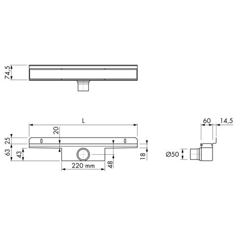 Easydrain Compact 50 Wall Zero douchegoot 110cm