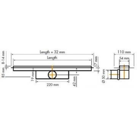 Easydrain Compact 50 TAF douchegoot 110cm