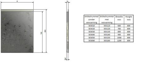 Bron 900 spiegel 80x80 bovenbaan indirecte led+sensor