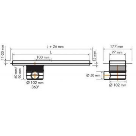 Easydrain Multi TAF douchegoot 140cm