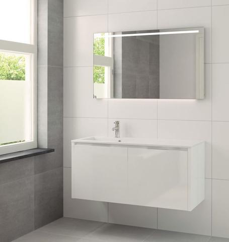 Bruynzeel Matera meubelset met spiegel l 120cm wit glanzend