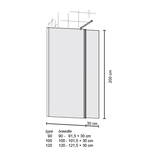 Bruynzeel Taro inloopdouche wand univ.120/30x200 cm.met muursteun aluminium/helder