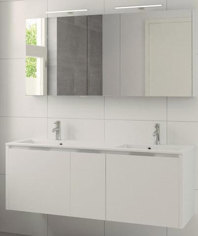 Bruynzeel Matera meubelset 150 cm.met spiegelkast met 2 wastafels mat wit
