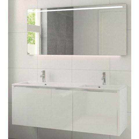 Bruynzeel Matera meubelset 150 cm.met spiegel met 2 wastafels wit glanzend