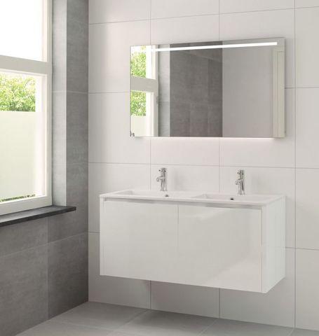 Bruynzeel Matera meubelset met spiegel 120cm wit glanzend
