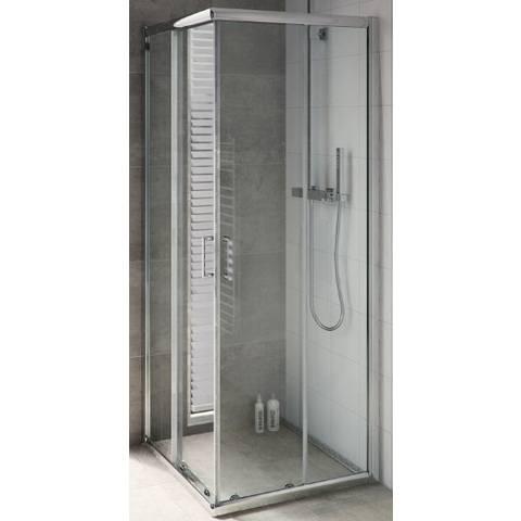 Bruynzeel Cilo hoekinstap 80x195 cm. compleet zilver glans-helder glas