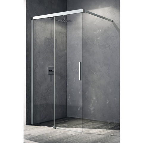 Kermi Nica deur links 1000x2000 glanszilver-helder