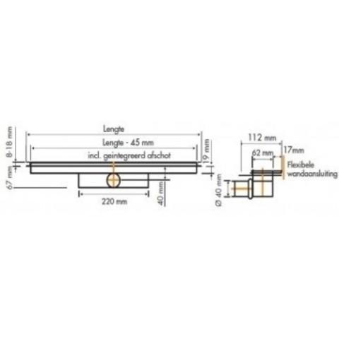 Easydrain Compact 30 TAF Wall douchegoot 110cm