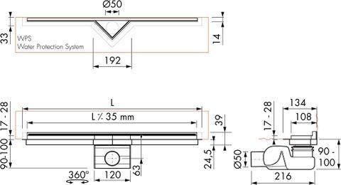 Easydrain S-Line douchegoot 90 cm. voor natuursteen rvs
