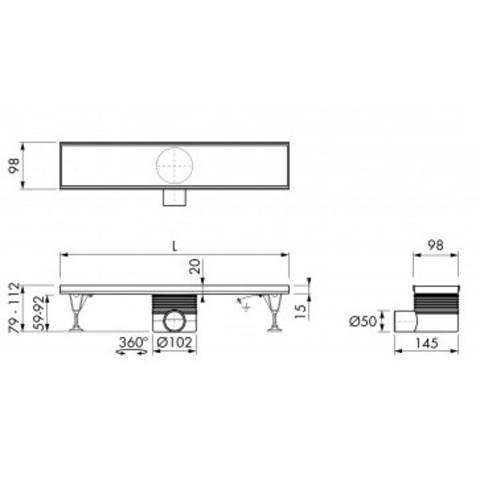 Easydrain Tegel-8 tegelrooster 80 cm. rvs