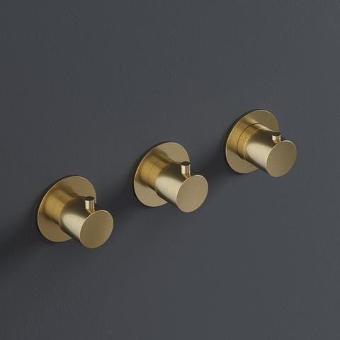 Hotbath Cobber CB7067EXT afbouwdeel voor inbouwthermostaat met 2 stopkranen - horizontaal of verticaal - gepolijst messing PVD