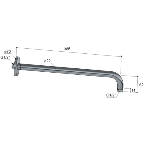 Hotbath Cobber CB450 wandarm rond 38.5 cm geborsteld koper PVD