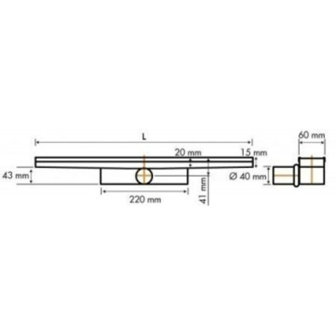 Easydrain Compact 30 Zero douchegoot 100cm