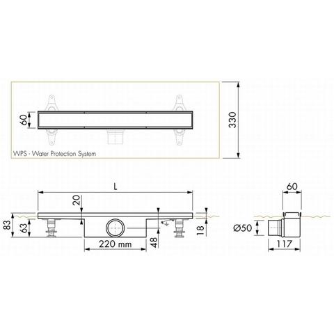 Easydrain Compact 50 FF Zero douchegoot 70cm