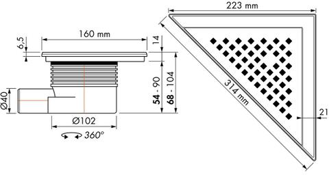 Easydrain Aqua Delta vloerput 22 x 22 x 31,4 cm. met rooster msi-6 rvs geborsteld
