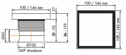 Easydrain Aqua Quattro Tegel vloerput abs 15 x 15 cm. horizontaal tegel / rvs