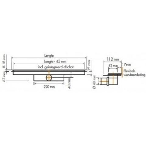 Easydrain Compact 50 TAF Wall douchegoot 110cm
