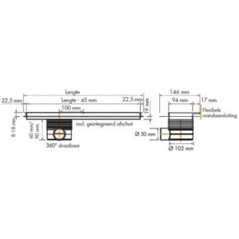 Easydrain Multi TAF Wall douchegoot 100cm