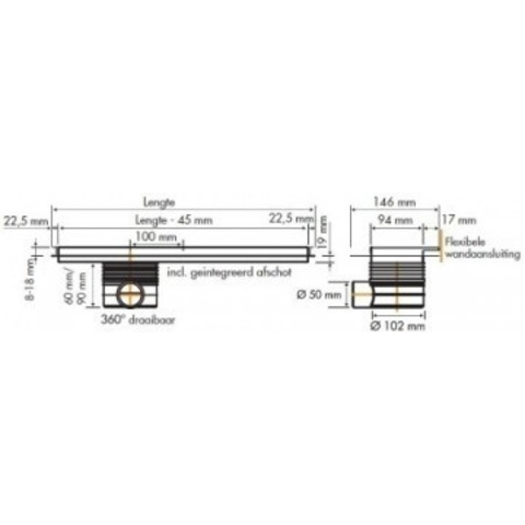 Easydrain Multi TAF Wall douchegoot 60cm
