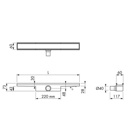 Easydrain Compact 30 Tegel douchegoot 60cm