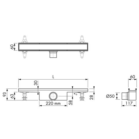 Easydrain Compact 50 Tegel douchegoot 60cm
