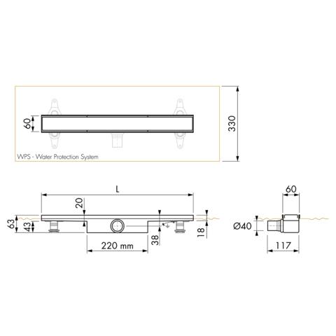 Easydrain Compact 30 FF Zero douchegoot 60cm