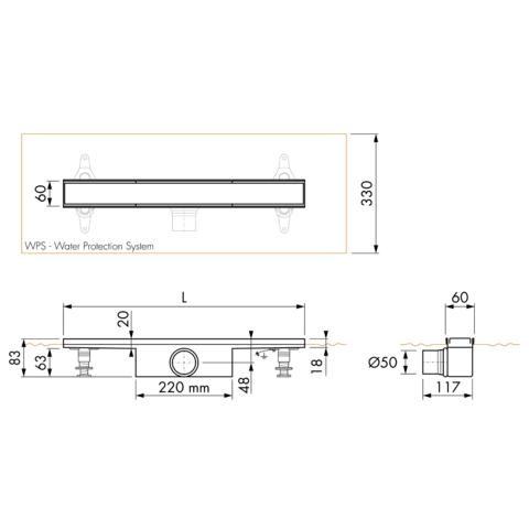 Easydrain Compact 50 FF Zero douchegoot 60cm