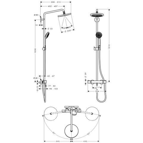 Hansgrohe Croma 220 showerpipe 1jet - EcoSmart - met Ecostat Comfort thermostaat - chroom
