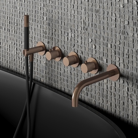 Hotbath Cobber CB7072EXT afbouwdeel voor inbouw badthermostaat met 2 stopkranen & uitloop geborsteld messing