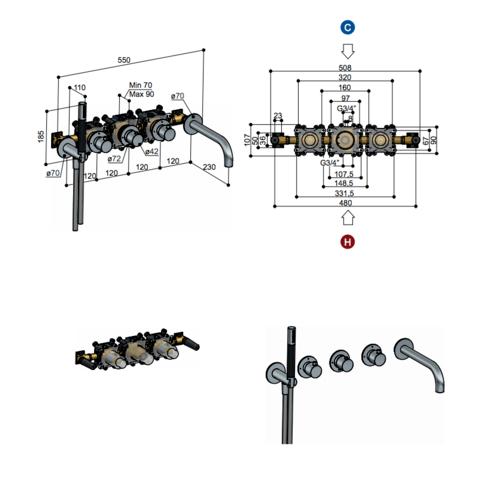 Hotbath Cobber CB7072EXT afbouwdeel voor inbouw badthermostaat met 2 stopkranen & uitloop mat zwart