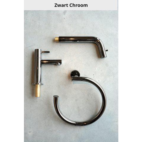 Hotbath Cobber CB7072EXT afbouwdeel voor inbouw badthermostaat met 2 stopkranen & uitloop zwart chroom