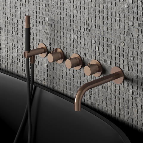 Hotbath Cobber CB7072EXT afbouwdeel voor inbouw badthermostaat met 2 stopkranen & uitloop gepolijst messing PVD