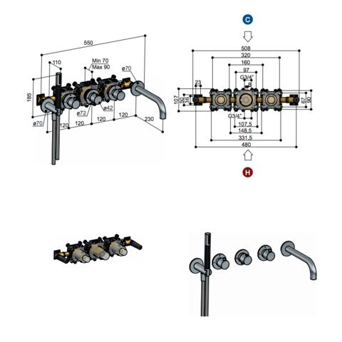 Hotbath Cobber CB7072EXT afbouwdeel voor inbouw badthermostaat met 2 stopkranen & uitloop geborsteld koper PVD