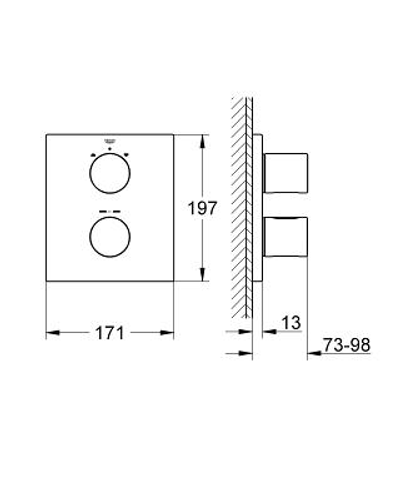 Grohe Grohtherm 3000 Cosmo afdekset vierkant voor badthermostaat t chroom