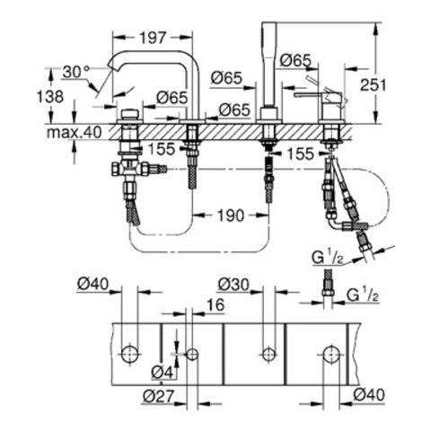 Grohe Essence New afdekset 4-gats badrandcombinatie met douchegarn. hard graphite geborsteld