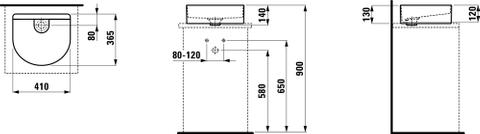 Laufen Sonar waskom 41x36,5 mat wit