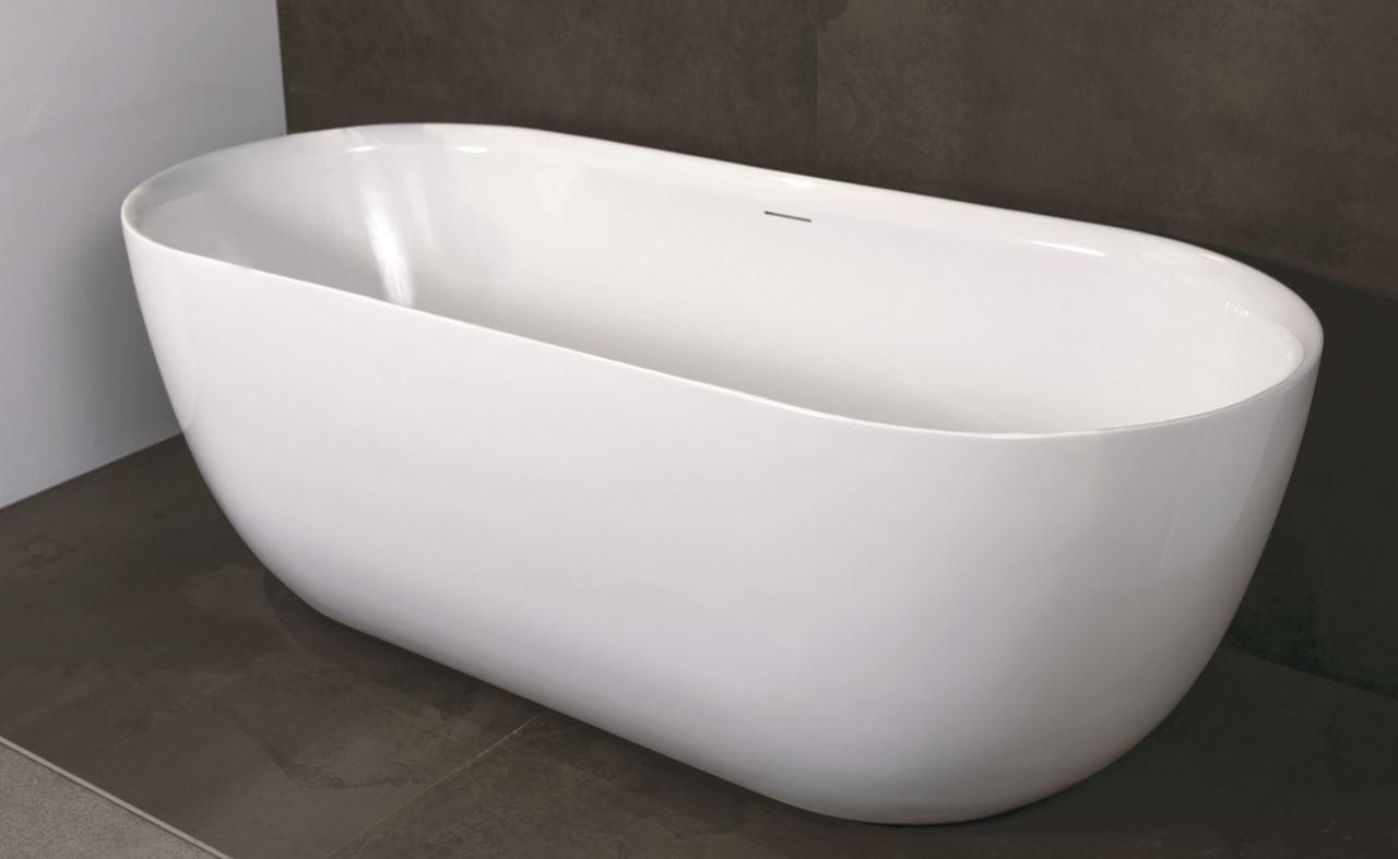 Luca Primo vrijstaand bad 180x80cm ovaal acryl wit glans