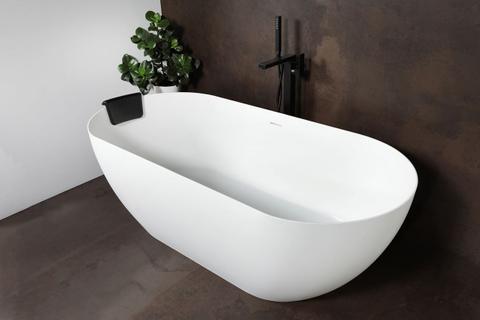 Luca Vasca vrijstaand bad met dunne rand 175x80cm ovaal Solid Surface mat wit