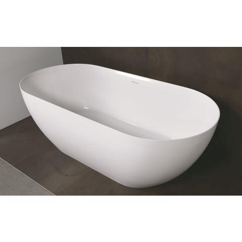 Luca Vasca vrijstaand bad met dunne rand 175x80cm ovaal Mineral Stone glans wit