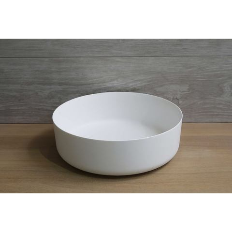Luca Sanitair  opzetwastafel rond 42x42x13,5h met dunne rand van solid surface mat wit