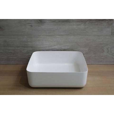 Luca Sanitair  opzetwastafel vierkant 40x40x13,5h met dunne rand van mineral stone wit glans