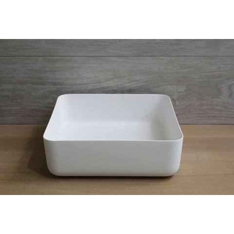 Luca Sanitair  opzetwastafel vierkant 40x40x13,5h met dunne rand van solid surface mat wit