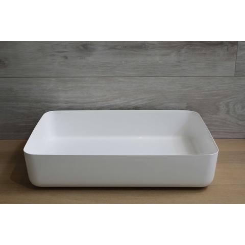 Luca Sanitair  opzetwastafel rechthoekig 60x40x13,5h met dunne rand van mineral stone wit glans