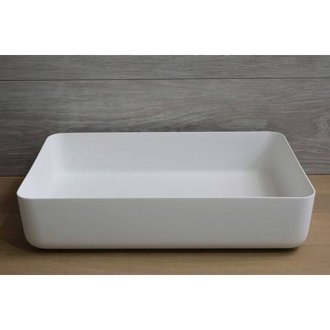Luca Sanitair  opzetwastafel rechthoekig 60x40x13,5h met dunne rand van solid surface mat wit