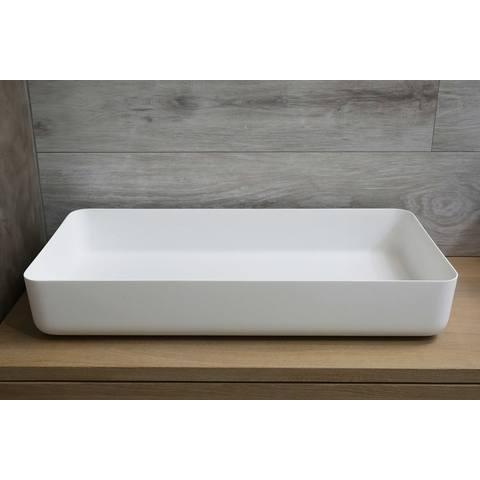 Luca Sanitair  opzetwastafel rechthoekig 80x40x13,5h met dunne rand van solid surface mat wit