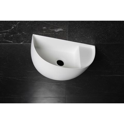 Luca Sanitair fontein halfrond 38x20x28cm met dunne rand Solid Surface mat wit