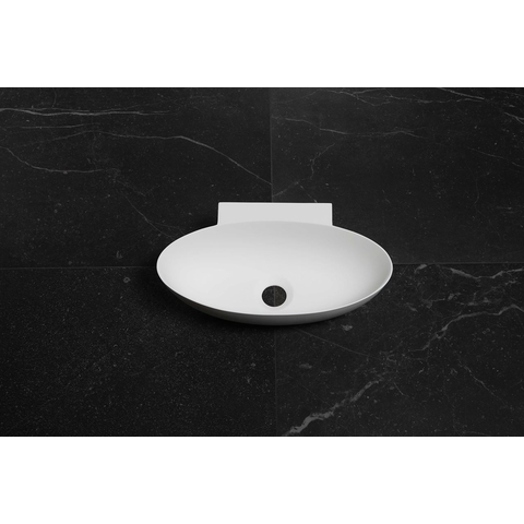 Luca Sanitair  wandfontein ovaal 40x22x12h met dunne rand in solid surface mat wit
