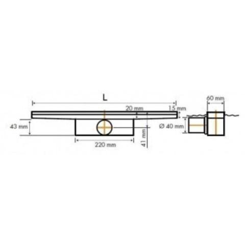 Easydrain Compact Ff 50 afvoergoot 6x100 cm.zijuitlaat met afdichtingsdoek rvs