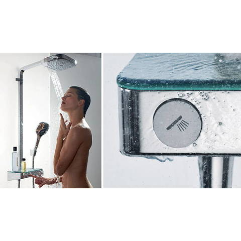 Hansgrohe Raindance Select E showerpipe 300 2jet - met ShowerTablet Select thermostaat - wit-chroom
