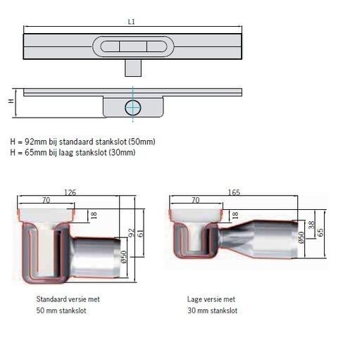 Aco Showerdrain C douchegoot 68,5x7 h=9,2 ss=50mm. zonder flens rvs